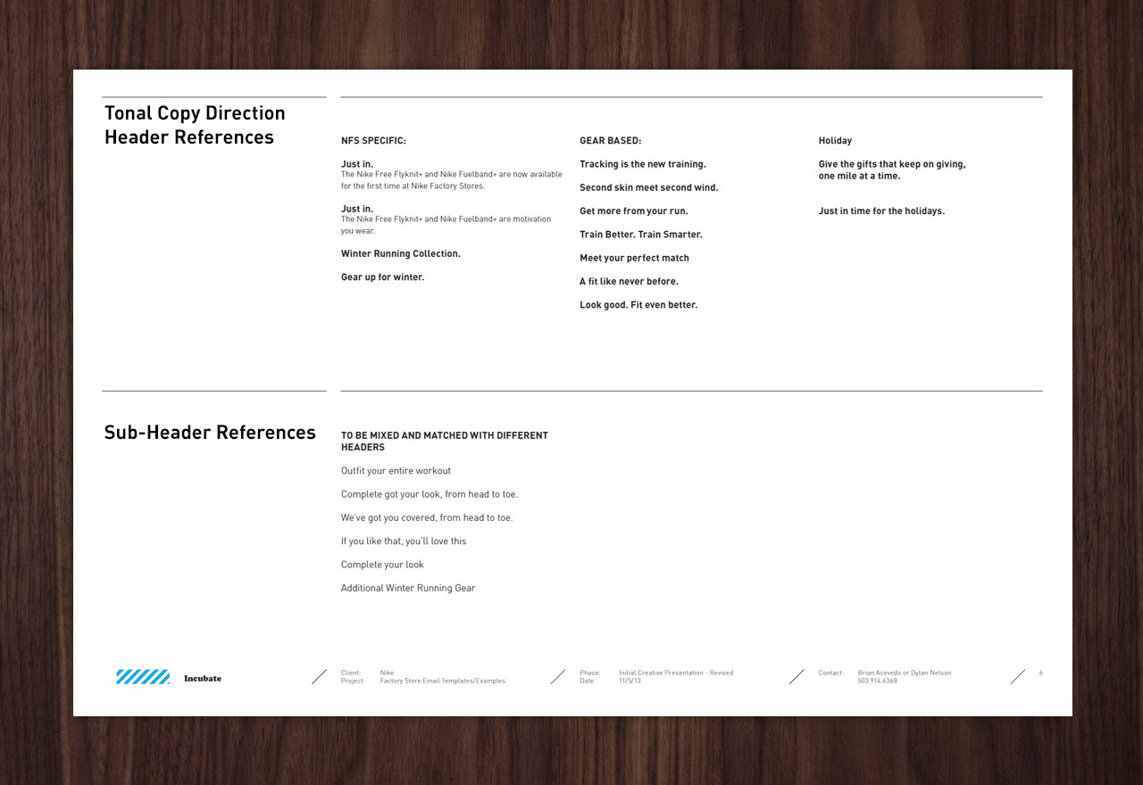 nike factory store email standards | incubate, Presentation templates